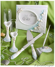 Beach Theme Guest Book Pen Toasting Flutes Cake Server