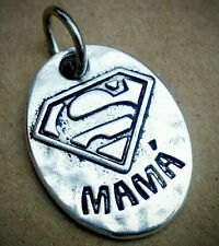 Super MAMA - Mom Superman Symbol Charm Pendant - fit Necklace Bracelet Keychain