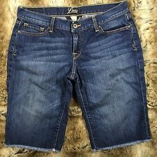 Lucky Brand Womens Shorts Crop Zoe Bermuda Denim Distressed Dark Wash Sz 12