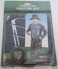 Rubie's New CAMOUFLAGE COSTUME SET Halloween Dress Up Size 4-6  Easy To Wear