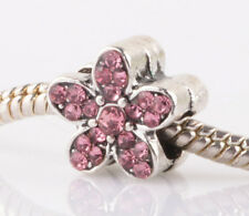 1PCS silver pink flowers sided CZ spacer beads fit Charm European Bracelet AB985