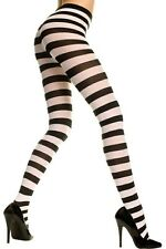 Music Legs Gothic Punk Costume Wide Stripes Black And White Pantyhose Tights