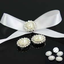 10PCS Rhinestone Round Pearl Buckle Invitation Card Ribbon for Wedding Supplies