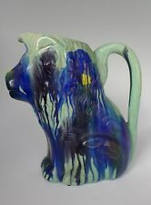 "Vintage Mexican Oaxacan ceramic dripware blue green lion pitcher 11"" tall"