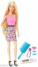 Barbie Rainbow Hair 5 Colors 1 Swipe Press Pull Color Change Hair Doll New