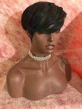 100% Synthetic Full Cap Feather Flip 1/DarkGreen Shirt Cut Wig
