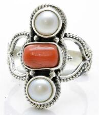 Red Coral, Pearl Ring Solid 925 Sterling Silver Jewelry Size 8.75 IR25945