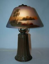 BEAUTIFUL SMALL REVERSE PAINTED BOUDOIR LAMP - PAIRPOINT SHADE 3104 - GLASS BASE