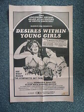 DESIRES WITHIN YOUNG GIRLS Rare Original 1980s Movie Poster Georgina Spelvin