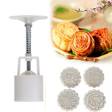 50g Moon Cake Round Mooncake Pastry Cookies Baking Mould Decoratio Mold+4 Stamps
