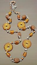 """Vintage Amber Beads Silver-tone Knots and Wood Bead Long Necklace 30.5"""""""