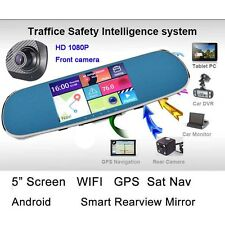 GPS Sat Nav WIFI Rear View Mirror HD 1080P Smart Car Dash Cam DVR + Back Camera