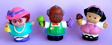 3 FISHER PRICE LITTLE PEOPLE STORE GROCER LADY GIRL W/ICE CREAM CONE VGC
