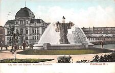 Rhode Island postcard Providence, City Hall and Bajnotti Memorial Fountain 1906