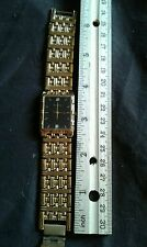 Vintage Bulova Gold Men's black rectangular face Watch with Diamond Accents
