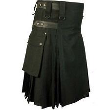Scottish Kilt highland 100%cotton utility Unisex Adult Handmade Black Leather