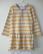 HANNA ANDERSSON Henley Dropwaist Stripe Dress Maple Leaf 150 12 NWT