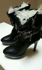 Burberry Black Biker Fur Platform Ankle Boots 38.5/8-8.5 US