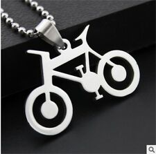 NEW bicycle woman's Men's Silver 316L Stainless Steel Titanium Pendant Necklace