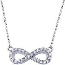 Cz Infinity Symbol .925 Sterling Silver Pendant Necklace