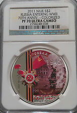 NGC Registry PF70 2011 Niue 70th RUSSIA ENTERING WWII Top Pop-4 SILVER 1oz RARE