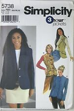 SIMPLICITY 5738 Uncut Pattern Size HH 6 8 10 12 Misses 3 Hour Jackets 2002 New