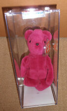 RARE MWMT MQ! Authenticated TY 2nd gen OLD FACE MAGENTA TEDDY Beanie Baby