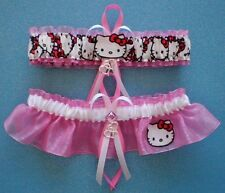 Hello Kitty Fabric  Wedding Bridal Prom Garter Set Double Heart Charm
