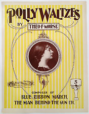 """SHEET MUSIC STORE POSTER """"POLLY WALTZES"""" ADVERTISING LARGE FORMAT"""