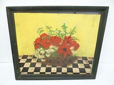 Vintage Oil Painting on Canvas Board Green Framed Bouquet Roses Flowers Artwork