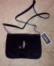 NWT Juicy Couture Crossbody Black Velour Zip Top Closure