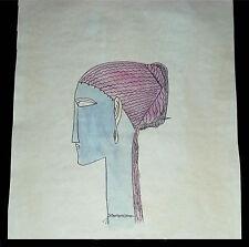 Amadeo Modigliani ca 1912 'Head left profile earrings & necklace' watercolor COA