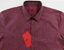 Men's HUGO BOSS Red Blue Micro Plaid Shirt XL Extra Large NWT NEW $145+ Slim Fit