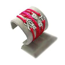 Bracelet infini love chouette ancre infinity rouge