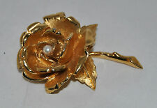 """Beautiful Designer Signed """"Boucher"""" Gold Toned Rose Brooch with a Real Pearl"""