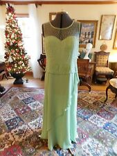 BEAUTIFUL MINT GREEN MOTHER OF THE BRIDE OR GROOM BEADED CHIFFON GOWN SIZE XL-12