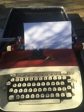 Vintage 1960s Red burgundy Royal Safari Portable Typewriter W Case & Instruction