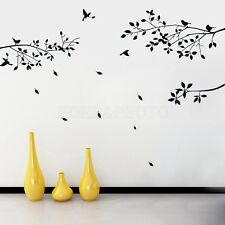 Fashion Black Tree Branches Birds Leaves Home Wall Stickers Living Room Decals