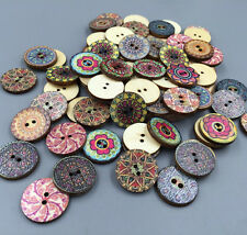 50X Vintage Style Flowers Wood Buttons Scrapbooking Sewing Crafts wooden 20mm