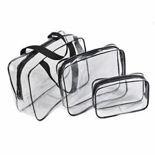 3 Pcs Cosmetic Makeup Toiletry Clear PVC Travel Wash Bag Holder Pouch Set Kit RF