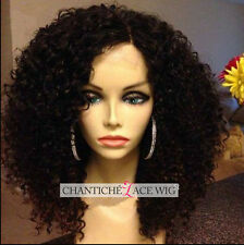 """14"""" Curly Lace Front Human Hair Wigs 6A Brazilian Remy Full Lace Wig Black Women"""