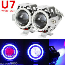2x White +Blue Motorcycle CREE U7 LED Headlight for Suzuki Intruder VS VL 750