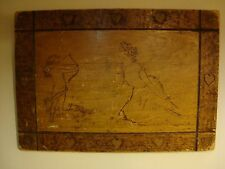 "1904 Wood Burning Pyrography Panel Plaque CUPID Arts Crafts  Signed (20""x 14"")"