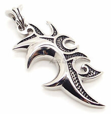 MENs Tribal Dragon Tattoo Blade Stainless Steel Pendant Free Chain Necklace