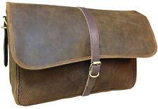 Cuir épais marron vieilli transporter bagages Sac Ordinateur Portable Doublure Amovible