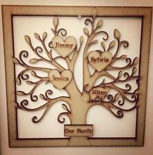 Personalised wooden family tree frame smoked effect 15 names NEW