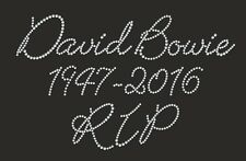 "Diamonte Hotfix Rememberance Transfer Rhinestone iron On Motif ""David Bowie""  s1"