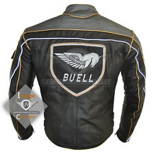 Men's Black Buell Motorcycle Racing Real leather Jacket with CE padding XS-5XL
