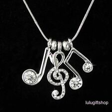 18K WHITE GOLD PLATED MUSIC MUSICAL NOTE PENDANT NECKLACE USE SWAROVSKI CRYSTALS