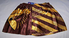 Hawthorn Hawks AFL Mens Brown Stripe Printed Satin Boxer Shorts Size L New